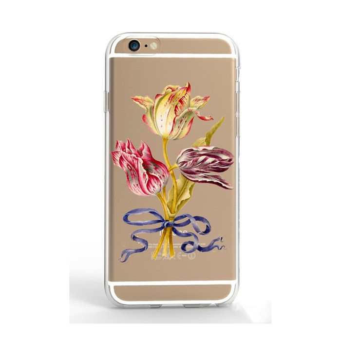 Clear iPhone SE iPhone 7 case tulip phone case transparent iPhone 5 case iPhone 6S