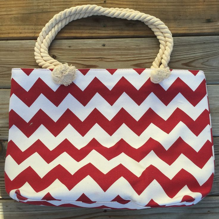Excited to share the latest addition to my #etsy shop: Crimson & White Chevron Canvas Tote Bag