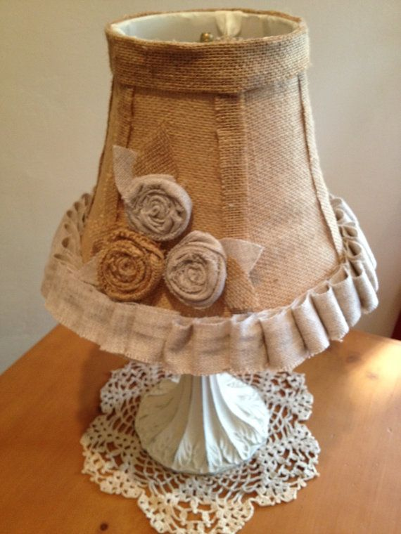 Shabby Chic lamp and burlap lampshade by IttyBittyCottage on Etsy, $50.00