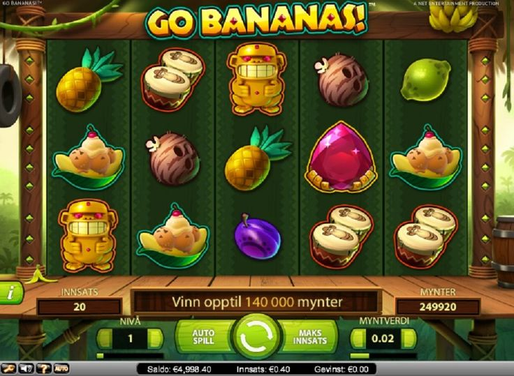 Spilleautomater Go Bananas Go Bananas tilbyr fem hjul med tjue gevinstlinjer. #Spilleautomater #GoBananas