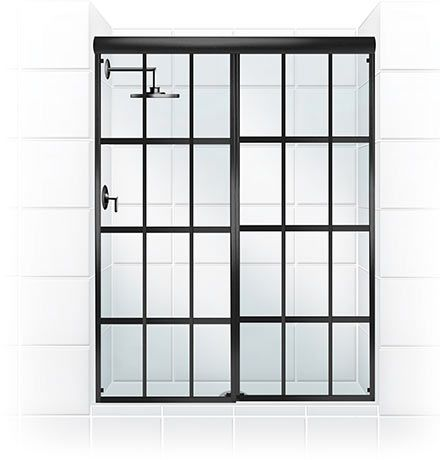 The Gridscape series of shower doors from Coastal Shower Doors features oil-rubbed bronze panes and crystal-clear glass. Beautiful! - Products - Gridscape Shower Doors @coastalind