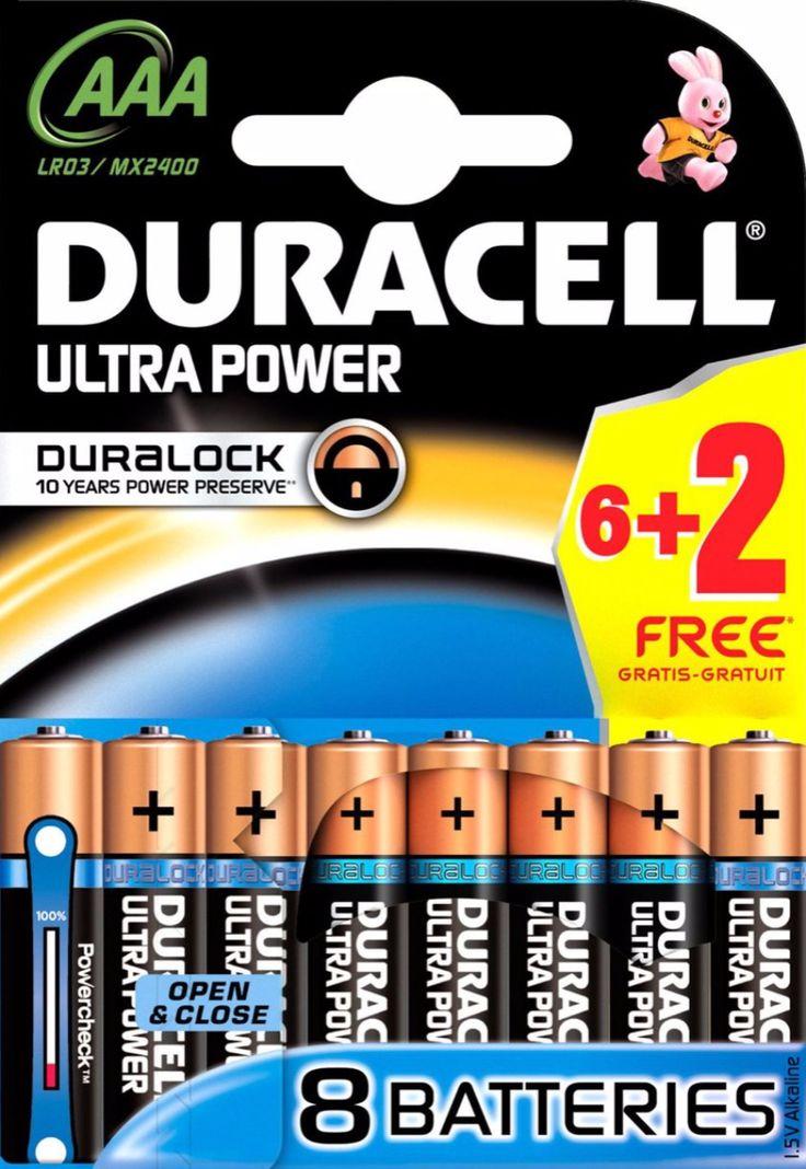 Duracell Ultra Power - AAA 6  2 Gratis  Description: Duracell Ultra Power - AAA 4 Stuks Duracell biedt een breed assortiment batterijen voor gebruik in elektronische apparaten die betrouwbare energie vereisen. Duracell Ultra Power AAA batterijen zijn alkaline batterijen die ideaal zijn voor het aandrijven van al uw apparaten. Duracell's Duralock Power behoudt technologie tot 10 jaar in opslag. Daarnaast maakt de Powercheck technologie het gemakkelijk om te controleren hoeveel energie er in…