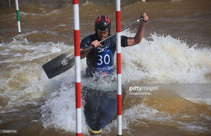 Matt Fritz competes in the Men's Canoe C1 during day one of the 2016 USA Canoe/Kayak Slalom Olympic Team Trials at the OKC Boathouse District on May 7, 2016 in Oklahoma City, Oklahoma.