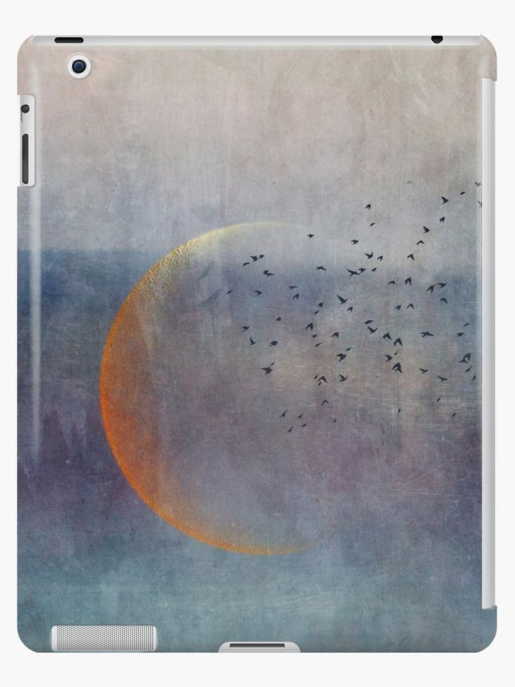 A golden crescent moon with a flock of birds, seen in an abstract way. • Also buy this artwork on phone cases, apparel, stickers, and more.