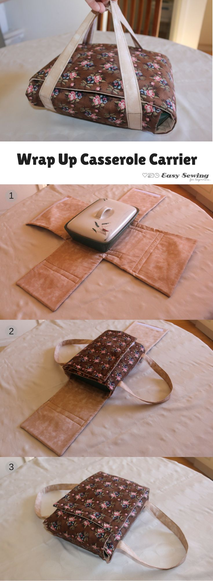 This wrap up casserole carrier is a very easy sewing project for beginning sewers