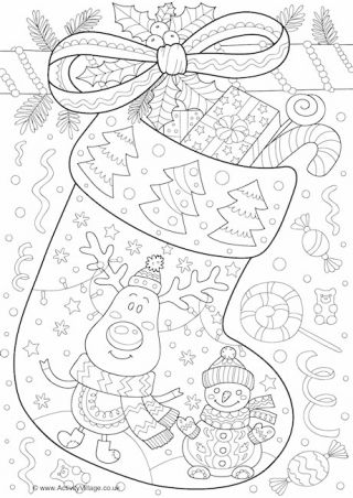 Christmas Stocking Doodle Colouring Page