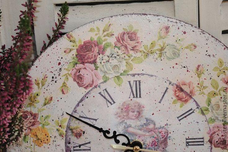 """Купить """"Розовый сад"""" часы - розы, шебби-шик, часы для дома, часы ручной работы"""