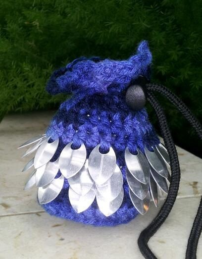 Blue Flat Bottom Dice Bag crocheted with silver by DragonScale, 15.00