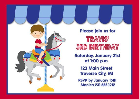 125 best images about Kids Birthday Party Invitations – Carousel Party Invitations