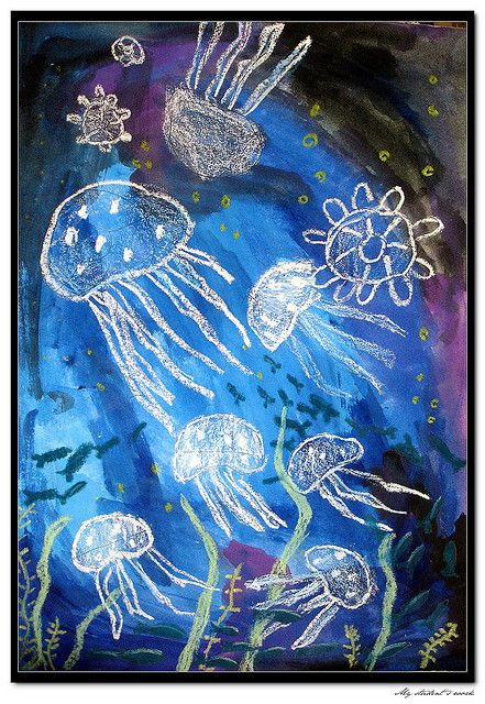 jellyfish. 2nd grader, 8 years old, girl. Postercolors & oil pastels on drawing paper.