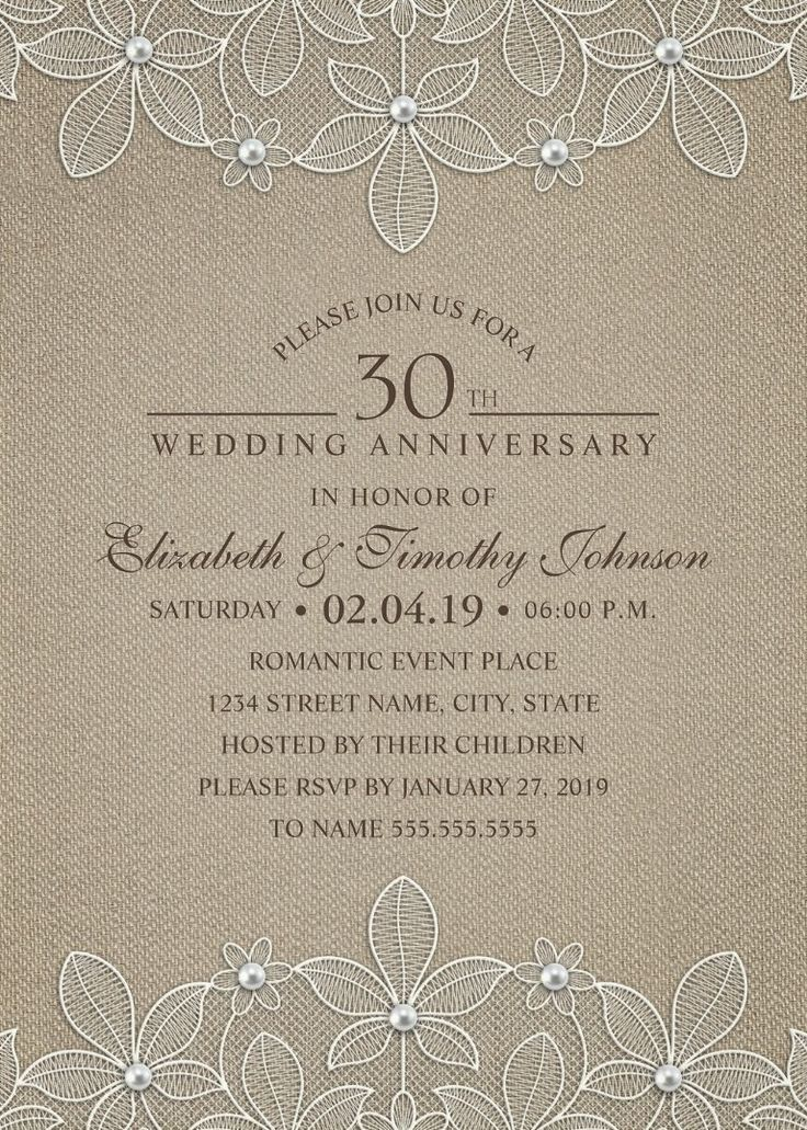 beautiful lines for5th wedding anniversary%0A Rustic Burlap   th Wedding Anniversary Invitations  Lace and Pearls Cards