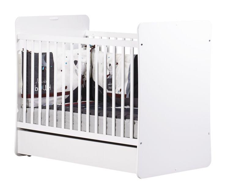 Lit de bébé 120x60 avec deux galeries fixes