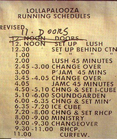 Lollapalooza '92 schedule