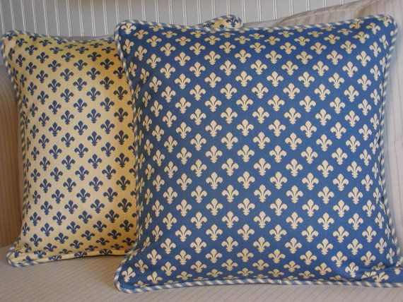 French Country Fleur de Lis Pillow Cover, Blue and Yellow, Decorative Throw Pillow, Designer ...
