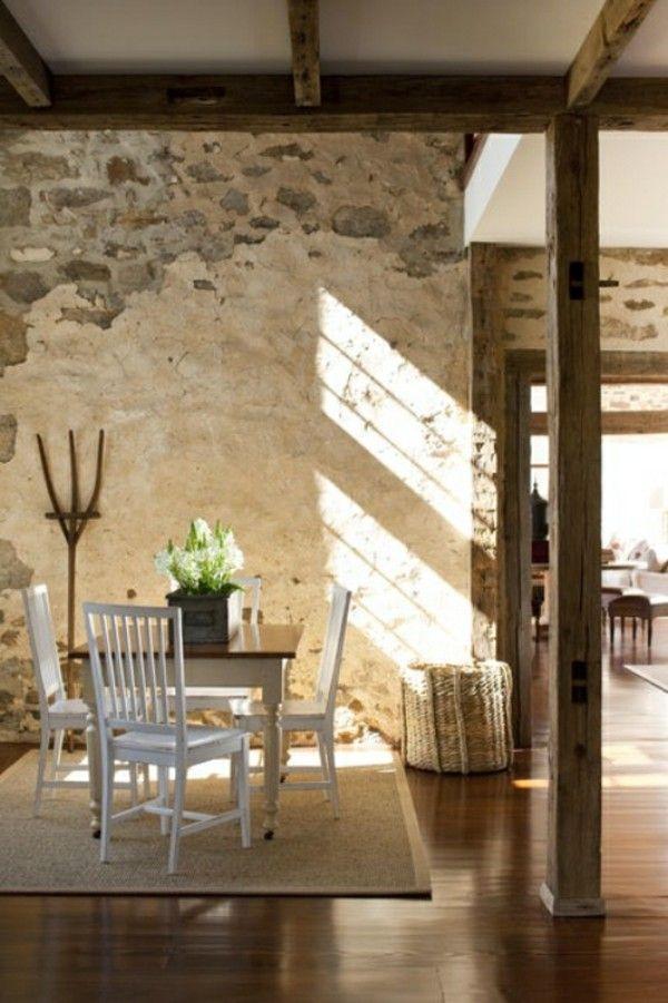 steinwände dekoideen charaktervolles design Wandgestaltung - tapeten fürs wohnzimmer