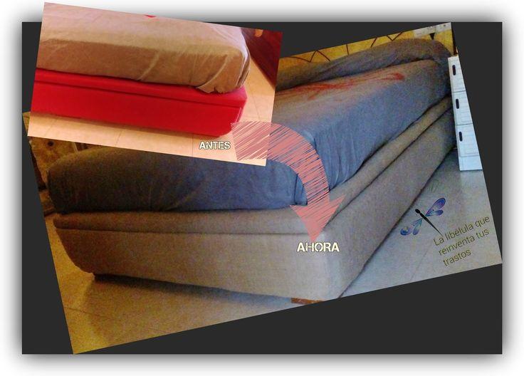 """Hola guap@s! Os traigo hoy un """"apaño"""" casero, y es que tengo el canapé de la cama tapizado en fucsia-rojo-terciopelo-horroroso, de esos que..."""