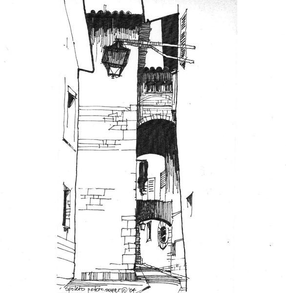 Architecture Drawing Original Sketch Pen And Ink Decor Wall Art By Architects Street In Spoleto