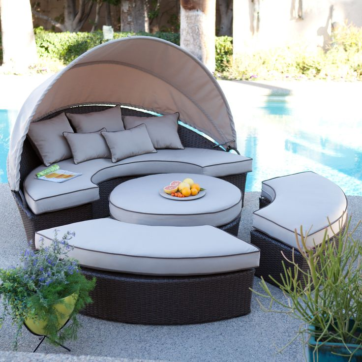 Have to have it. Sunbrella Belham Living Rendezvous All-Weather Wicker Sectional Daybed - $1799.98 @hayneedle