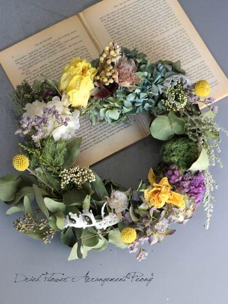 芍薬とチューリップのリース - ドライフラワーリース/ウェルカムボード/ ウェルカムリース  Dried Flower Arrangement ''Peony'' ピオニー