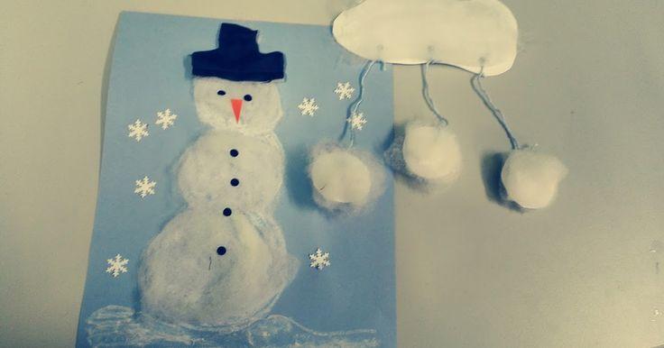 Pehmeitä ja valkoisia lumiukkoja tulee helposti vanua liimaten. Päälle vielä silmät, nenä, hattu ja napit. Vanusta saa myös pehmeitä lumi...