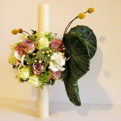 Baptismal candle flowers with butterfly wings - Yau Concept blog