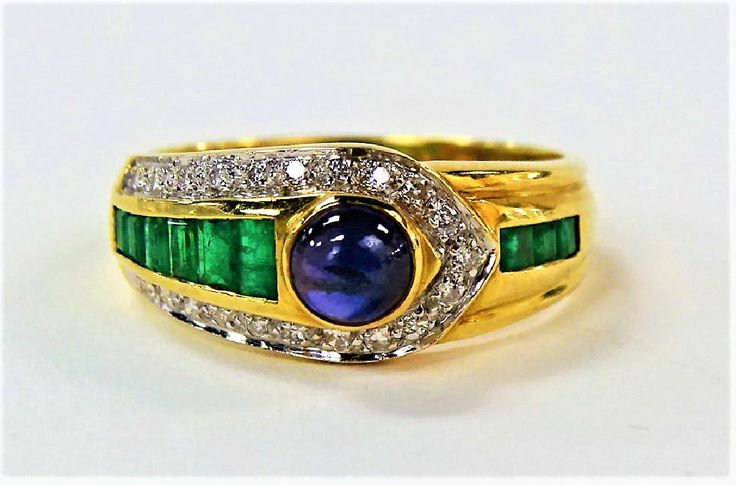 18KT YG SAPPHIRE, EMERALD, & DIAMOND BAND RING, Lot Number: 0539, Starting Bid: $325, Auctioneer: Auction Gallery of Boca Raton, LLC, Auction: MARCH MADNESS HIGH END ESTATE AUCTION, Date: March 26th, 2017 BST