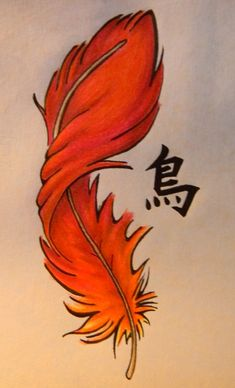 Phoenix feather tattoo representing rebirth