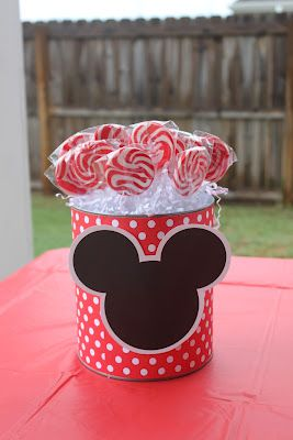 Mickey Mouse Party ~ Decorations ~ Lollipop Can (can use the old formula cans covered with patterned paper)