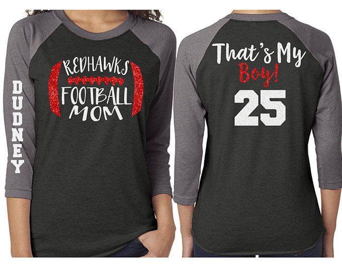 Glitter Mom Football Baseball Shirt 3/4 Sleeve Raglan  Customize with your Team & Colors