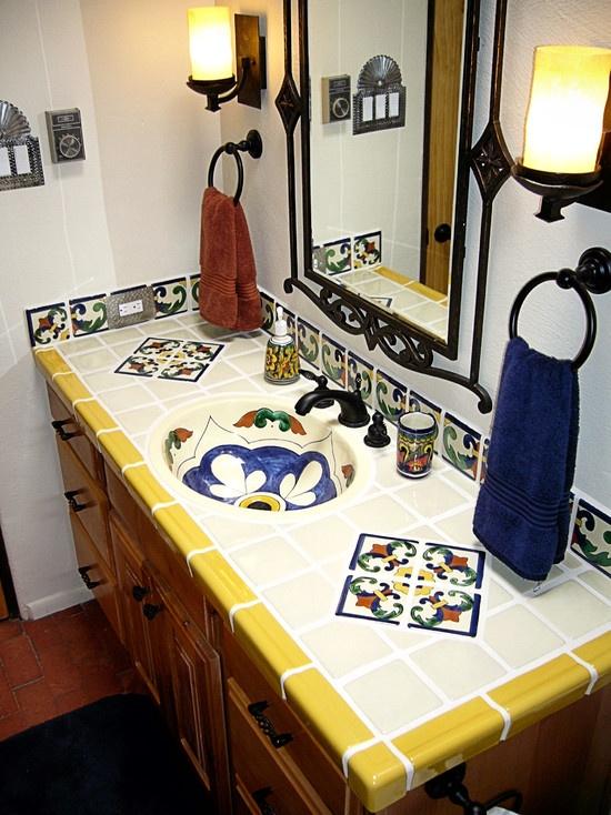 bathroom countertop unique tiles