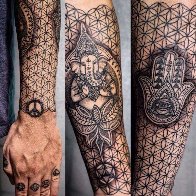 Flower Of Life Tattoo 90 Flower Of Life Tattoo Geometric Sleeve Tattoo Life Tattoos