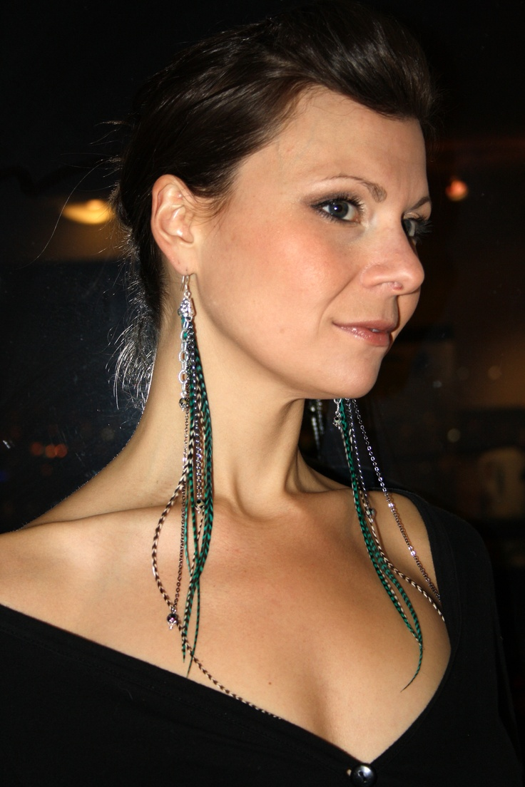 Chained & Feather Earrings   Sterling silver hooks & Swarovski crystal beads