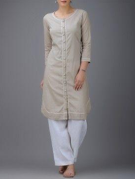 Beige Embroidered Round Neck Button-down Cotton Kurta