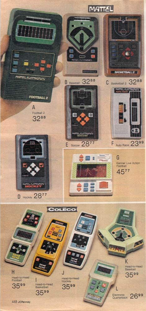 More handheld electronic games from a 1980 catalog. We had that football game in the upper left-hand corner!