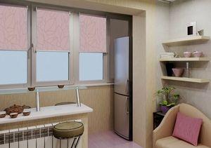 Размещение холодильника на объединенном балконе