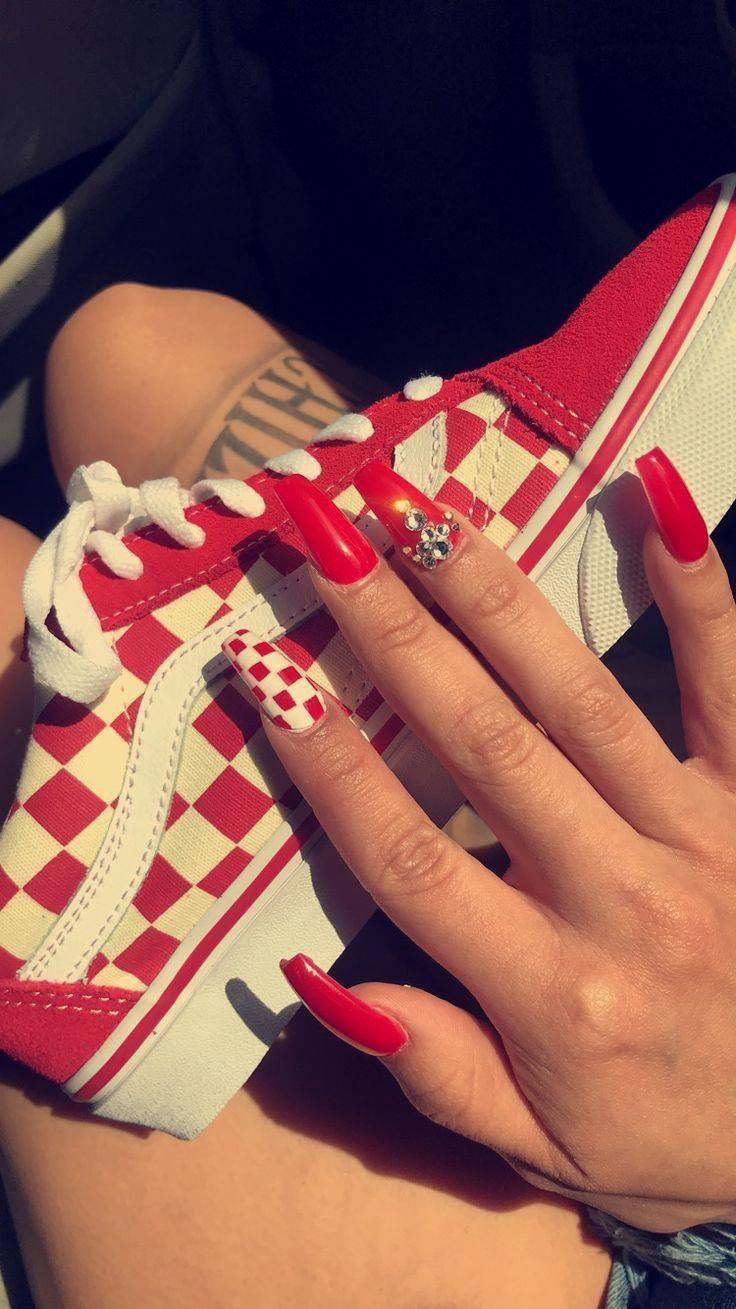 Vans Checkerboard Red Coffin Nails Acrylicnailsstiletto Nailscoffin Checkered Nails Red Acrylic Nails Acrylic Nails Stiletto