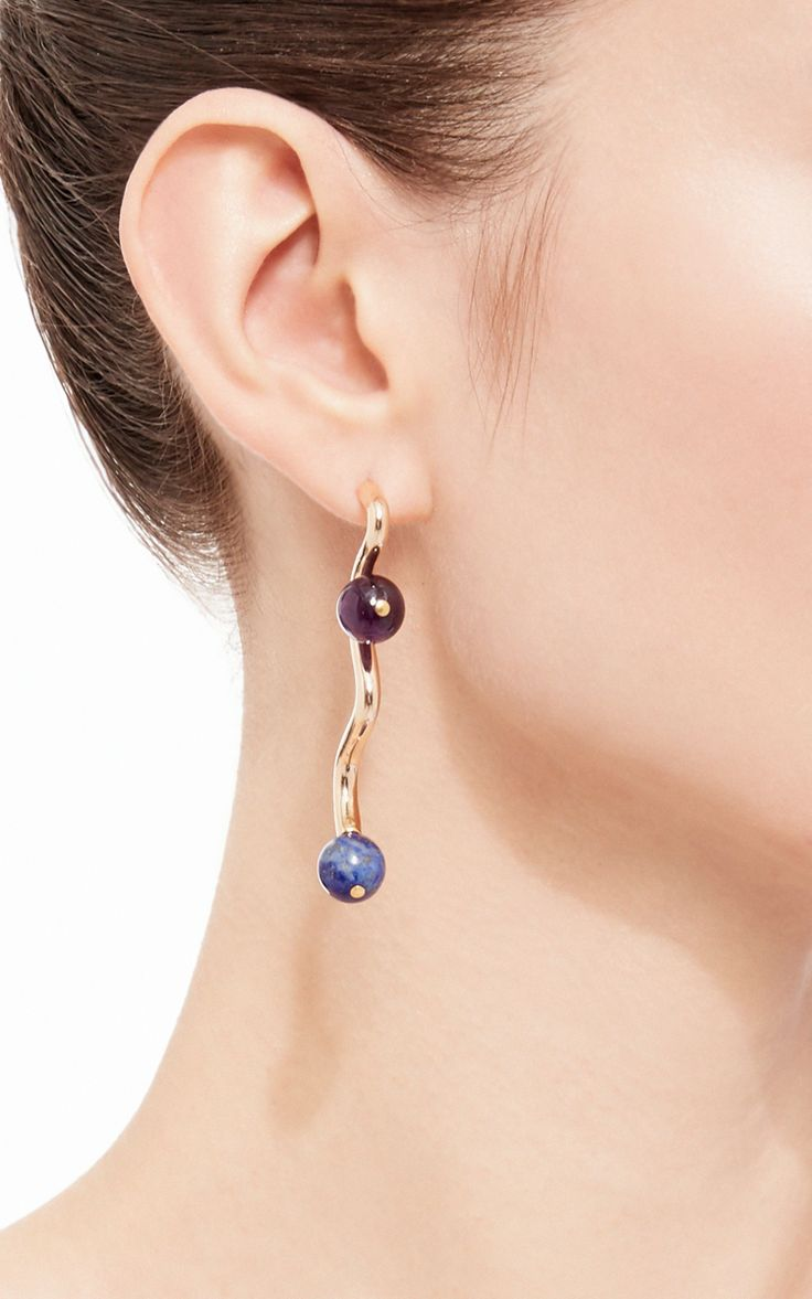 Lapis And Amethyst Guy Earrings By Uribe For Preorder On Moda Operandi