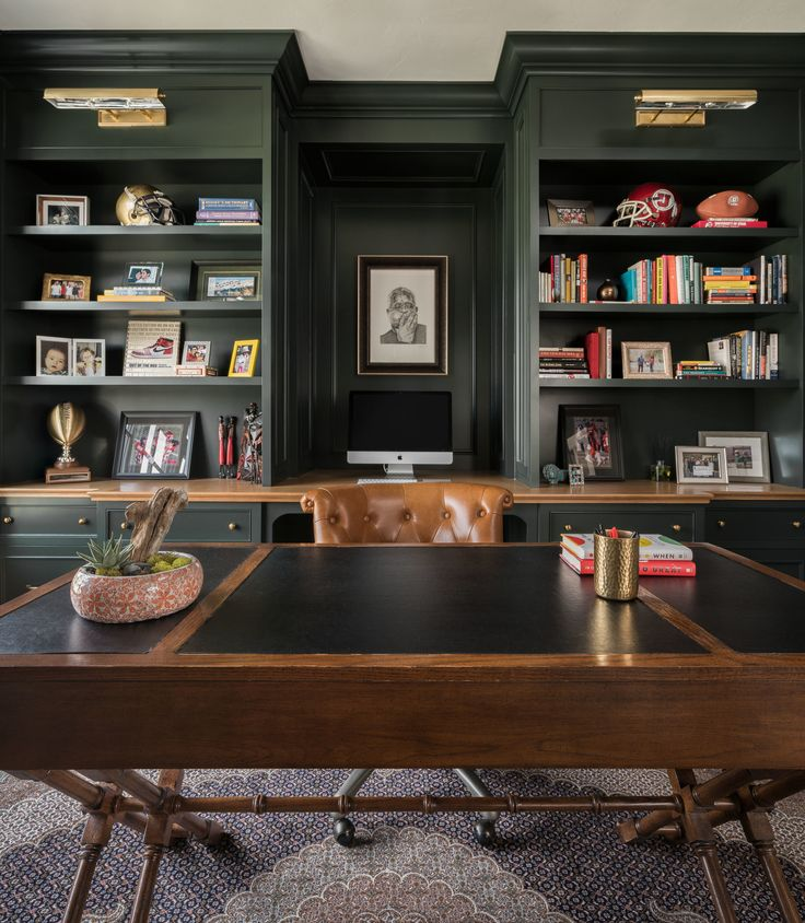Moody office + home office space + dark shelving + built-in shelving + tradition…