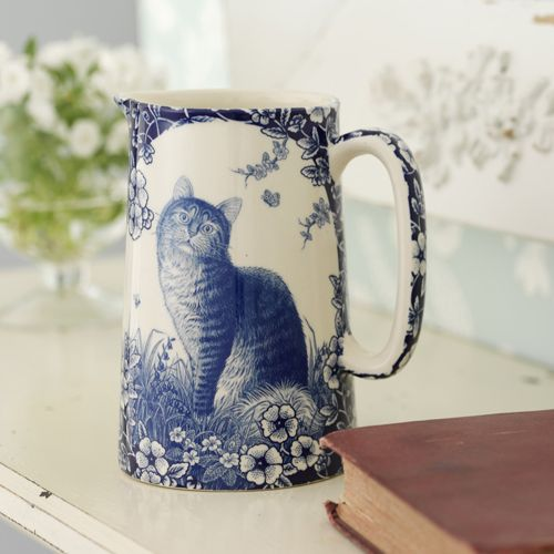 Ceramic Cat Jug from Live Laugh Love.co.uk ~ For a cat or blue & white china lover! One pint Flo blue jug. Use as a pretty vase for flowers or milk at your breakfast table. The same print is on the reverse of the jug. Microwave and dishwasher safe. H 5.5 in. Base 3.5 in round.