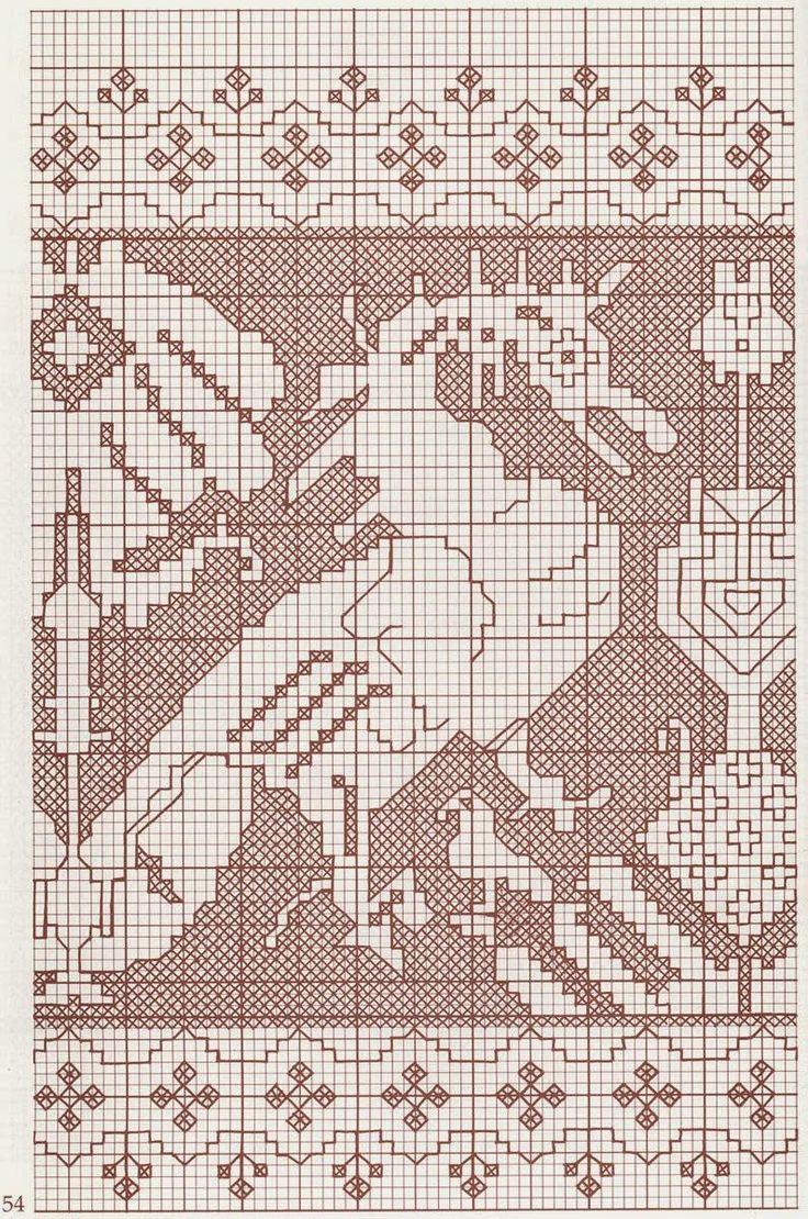 Il lavoro si esegue su tessuto a trama larga e regolare (tela Assisi, émiane, tela aida, lino, canovaccio oppure canapa e juta), in modo da poter contare i fili su cui ricamare.