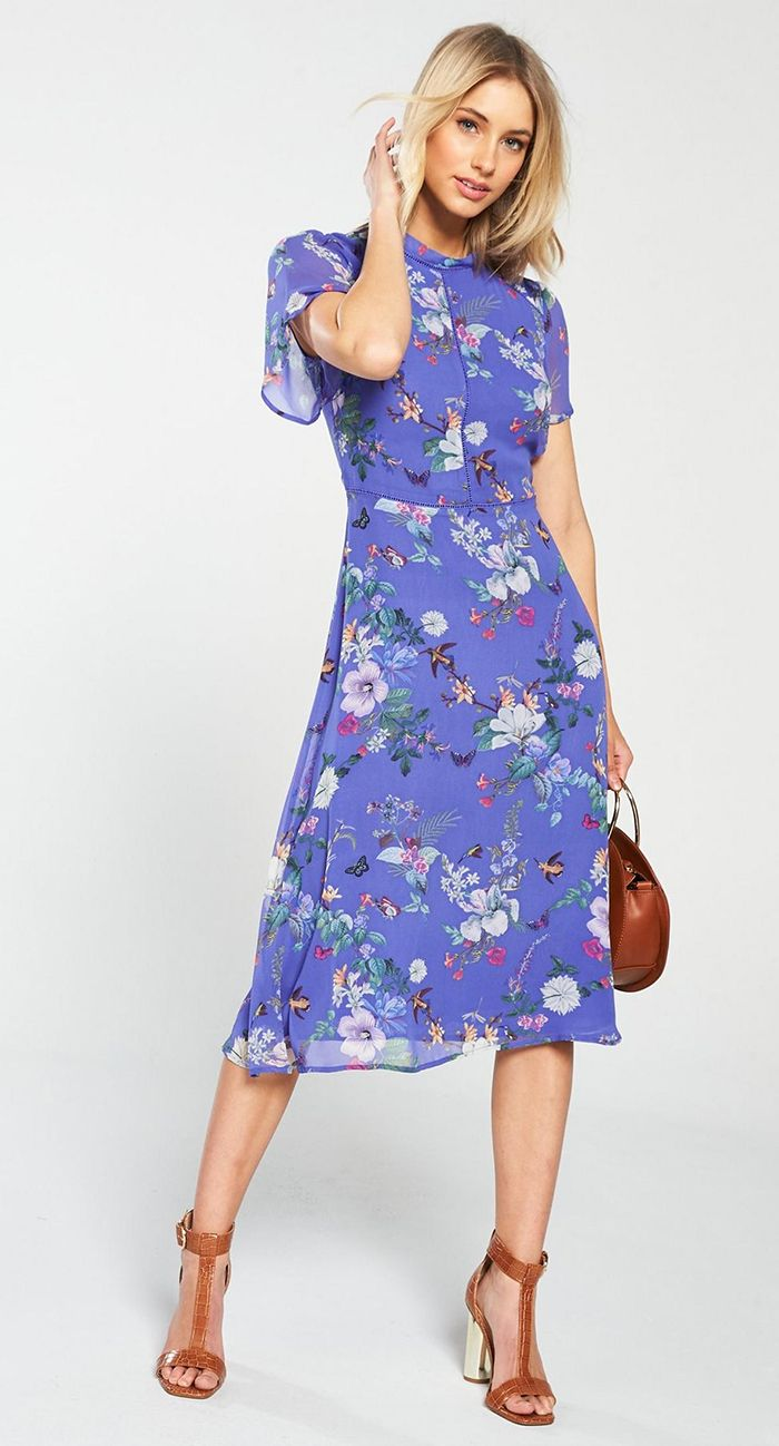 Lilac Floral And Birds Print Spring Wedding Guest Dress What To