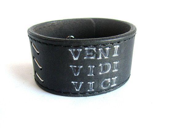 Mens black leather bracelet inspirational leather bracelet