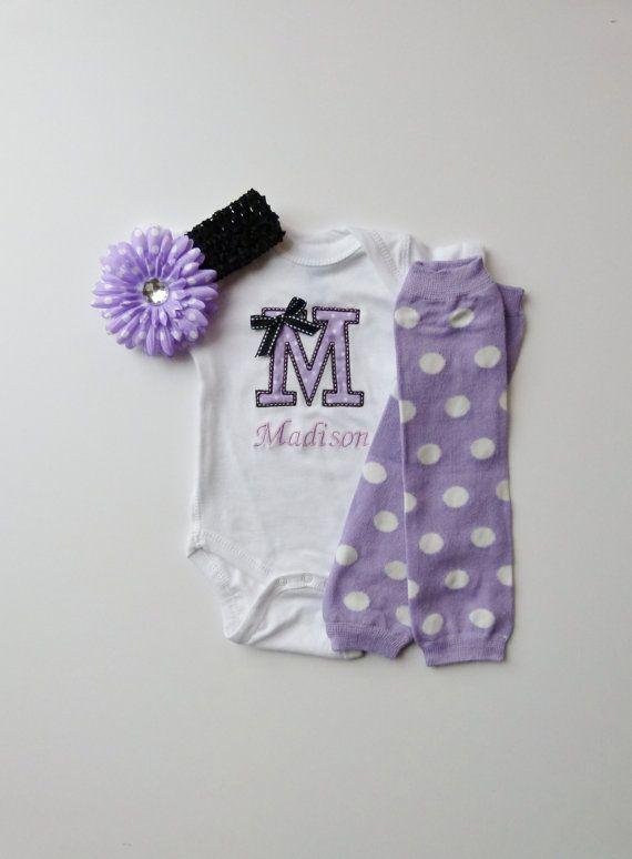 242 best baby shower ideas images on pinterest birthdays baby monogram onesie and leg warmer personalized baby girl gift set lavender white polka dot and black negle