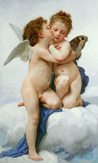 A favoritie of mine. From way before I knew anything about this artist. William Adolphe Bouguereau - The First Kiss
