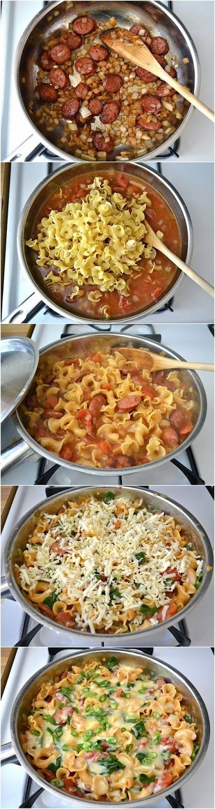 """""""FooF Drink: Creamy Sausage and Spinach Pasta Skillet"""" previous pinner"""