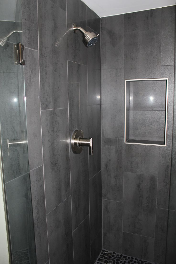 Vertical tile bathroom - Niche W Out Bullnose Gray 12 X 24 Shower Tile With Danze Shower Faucet