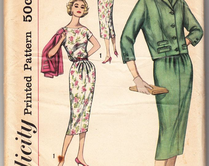 Vintage 1959 Simplicity 2369 UNCUT Sewing Pattern Misses' One-Piece Dress and Jacket Size 14 Bust 34