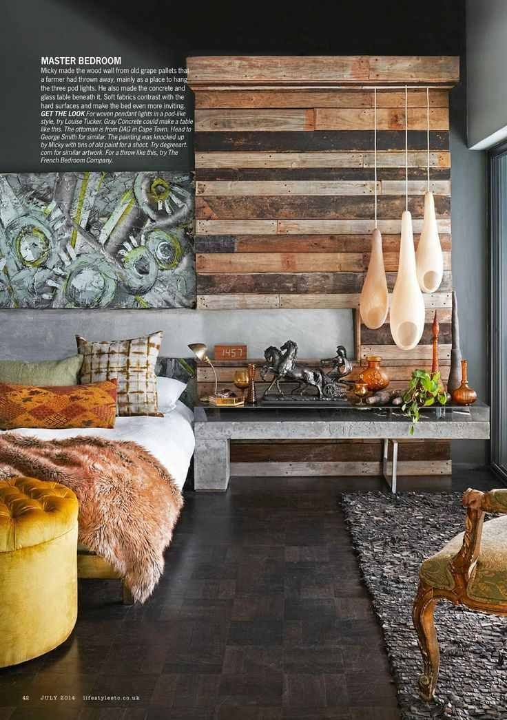 Rustic timber partial feature wall mixed with concrete, fur and velvet. WOW! Cape Town | Abigail Ahern