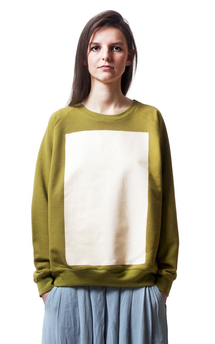 Ioana Ciolacu Doodle Sweatshirt  is a loose cropped sweatshirt with a placement screen printed block graphic in front and long raglan sleeves.
