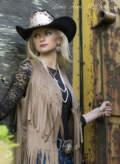 Rodeo queen pose. Lace and fringe attire. Taken on abandoned train. Miss Rodeo Wisconsin-Beth Kujala Lesa Ann Molitor Photography